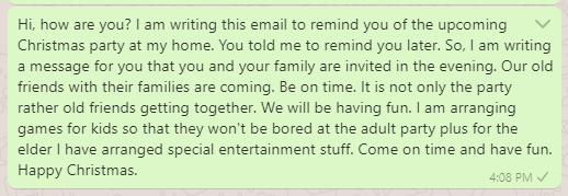 Invitation reminder email message