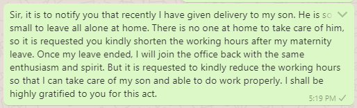 Request Messages for Reducing Hours After Maternity Leave