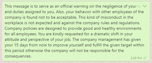 Strong warning message for negligence