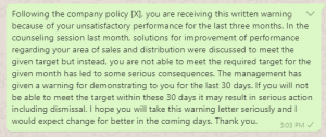Warning message to distributor for poor performance