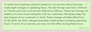 Change of Business Hour Messages