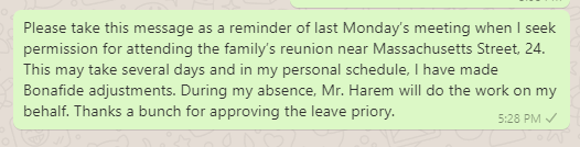 Family Function Leave Message to Boss