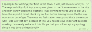 Apology message for wasting time