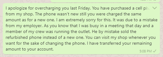 Apology messages for overcharge