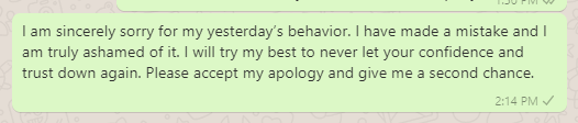 Apology messages for rude behavior