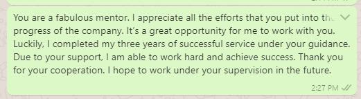 Appreciation messages to supervisor