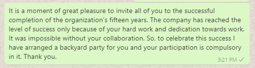 Backyard party invitation message