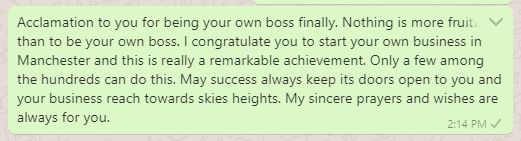 Best wishes for new business setup