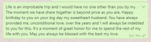 Birthday wish message to husband