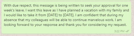 Casual leave request message