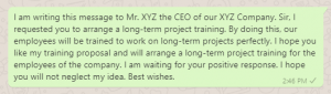 Employee Training Proposal Message