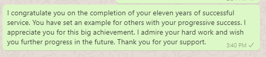 Employee anniversary messages