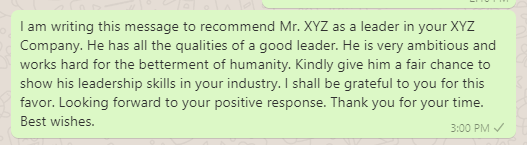 Employee recommendation message