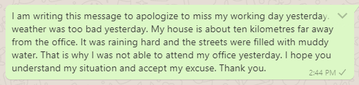 Excuse message for missing a day in office