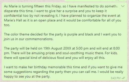 Garden party invitation message