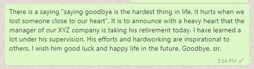 Goodbye message on leaving company