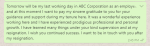 Goodbye message to boss after resignation