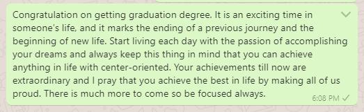 High school graduation wish message