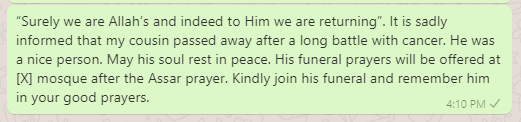 Islamic funeral invitation messages