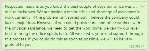 Message asking for help and support to office