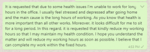 Request message to boss to reduce hours at work