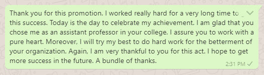 Thank you message to boss for promotion
