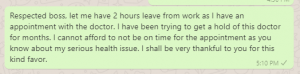 Two-hour break message to boss