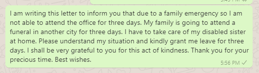 Absence Message to Boss Due to Family Emergency