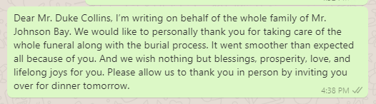 Appreciation Message for Financial Support for Burial