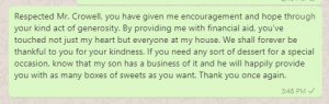 Appreciation message to boss for financial support