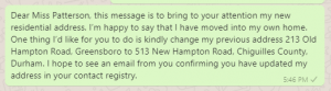 Change of address message to client