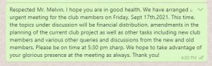 Club meeting invitation message