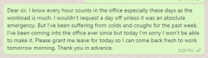 Cold and cough leave messages