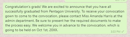 Convocation invitation message