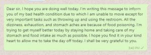 Food Poisoning Sick Leave Message