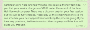Friendly payment reminder message