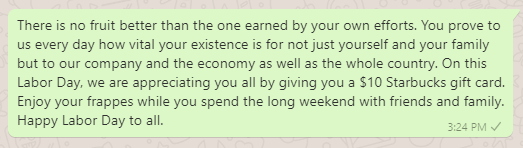 Labor Day closing message