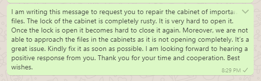 Message to Boss for Repair and Maintenance