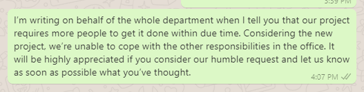 New staff hiring message to boss