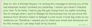 Reimbursement Request Message to HR