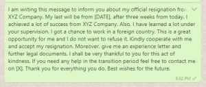 Resignation message to boss