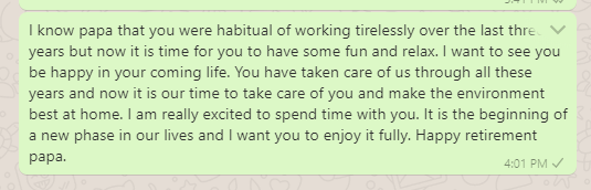 Retirement Wish Messages for Father