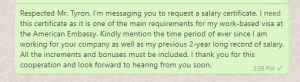 Salary certificate request message to manager