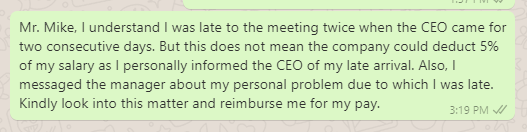 Salary deduction complaint message to HR