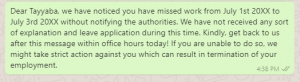 Show Cause Message to Employee for Absence
