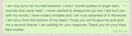 Sorry message to teacher for misbehaving