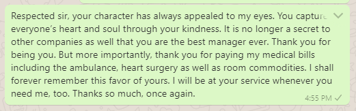 Thank You Manager for Assisting in Payment of Medical Bills