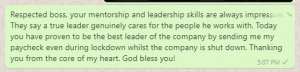 Thank You Message to Boss for Salary in Lockdown