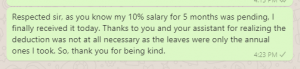 Thank you message to boss for pending salary