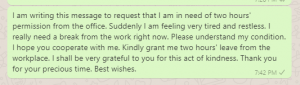 Two Hours Permission Message to Manager